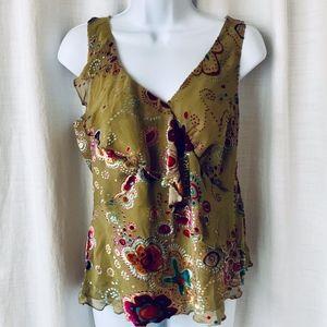 NWOT- DONNA Silk w/Velvet Embroidered Top!!